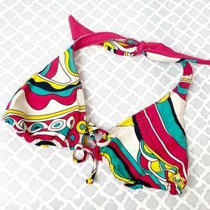EUC Billabong Pink/Floral Reversible Halter Bikini